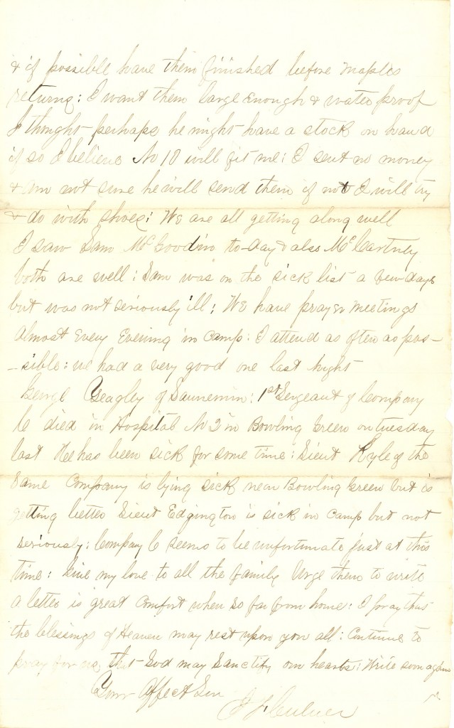 Joseph Culver Letter, November 26, 1862, Page 4