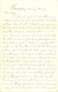 Joseph Culver Letter, November 27, 1862, Page 1