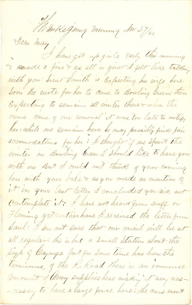 Joseph Culver Letter, November 27, 1862, Page 1
