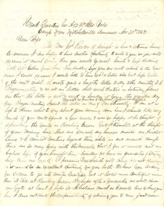 Joseph Culver Letter, November 30, 1862, Page 1