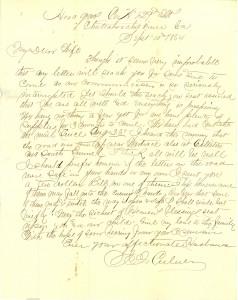 Joseph Culver Letter, September 10, 1864, Page 1