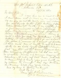 Joseph Culver Letter, September 12, 1864, Page 1