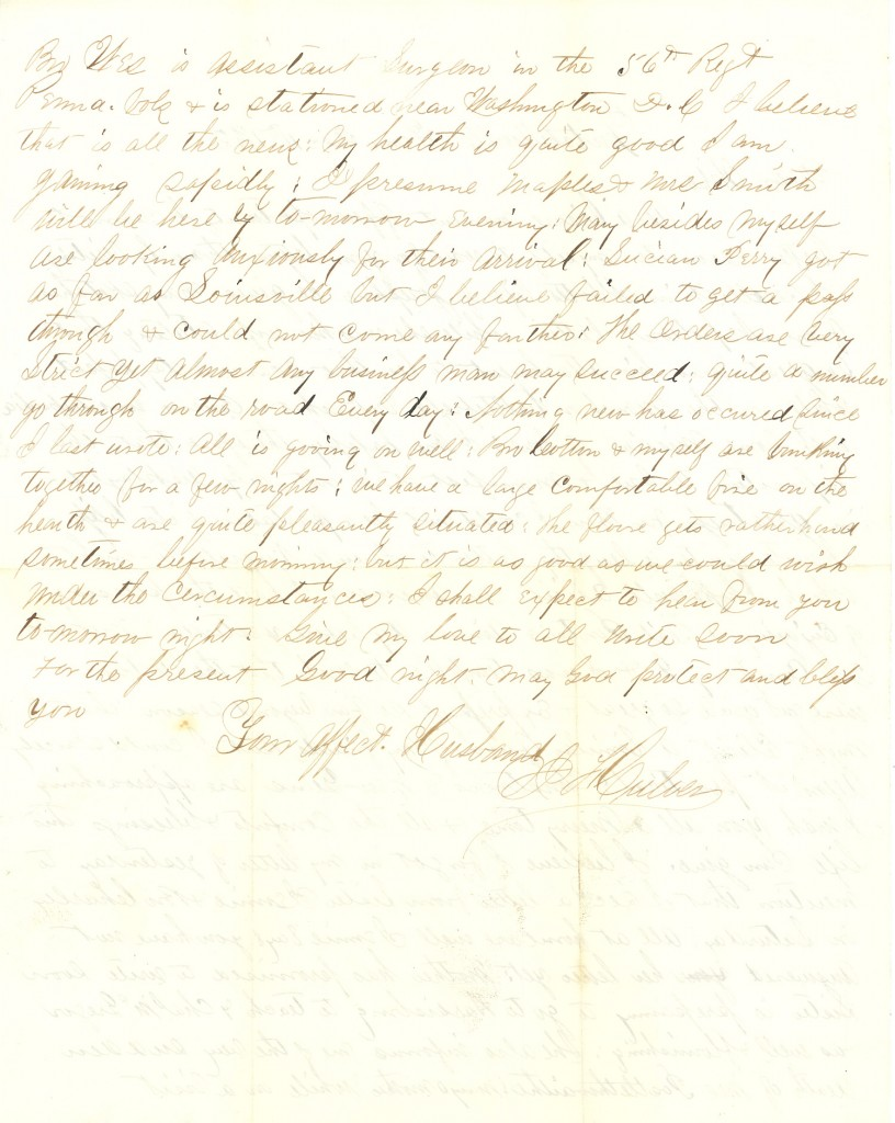 Joseph Culver Letter, December 11, 1862, Page 2