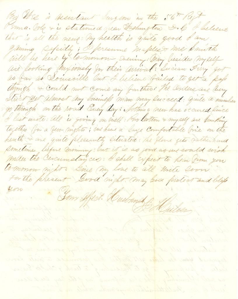 Joseph Culver Letter, December 11, 1862, Page 2