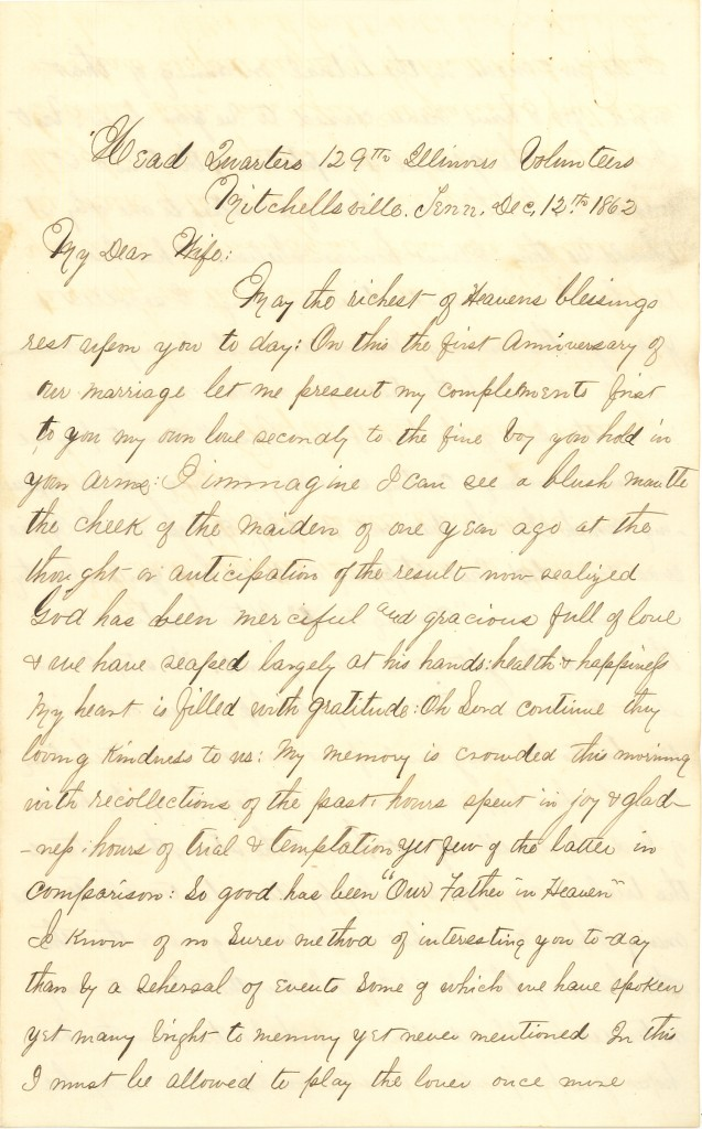 Joseph Culver Letter, December 12, 1862, Page 1