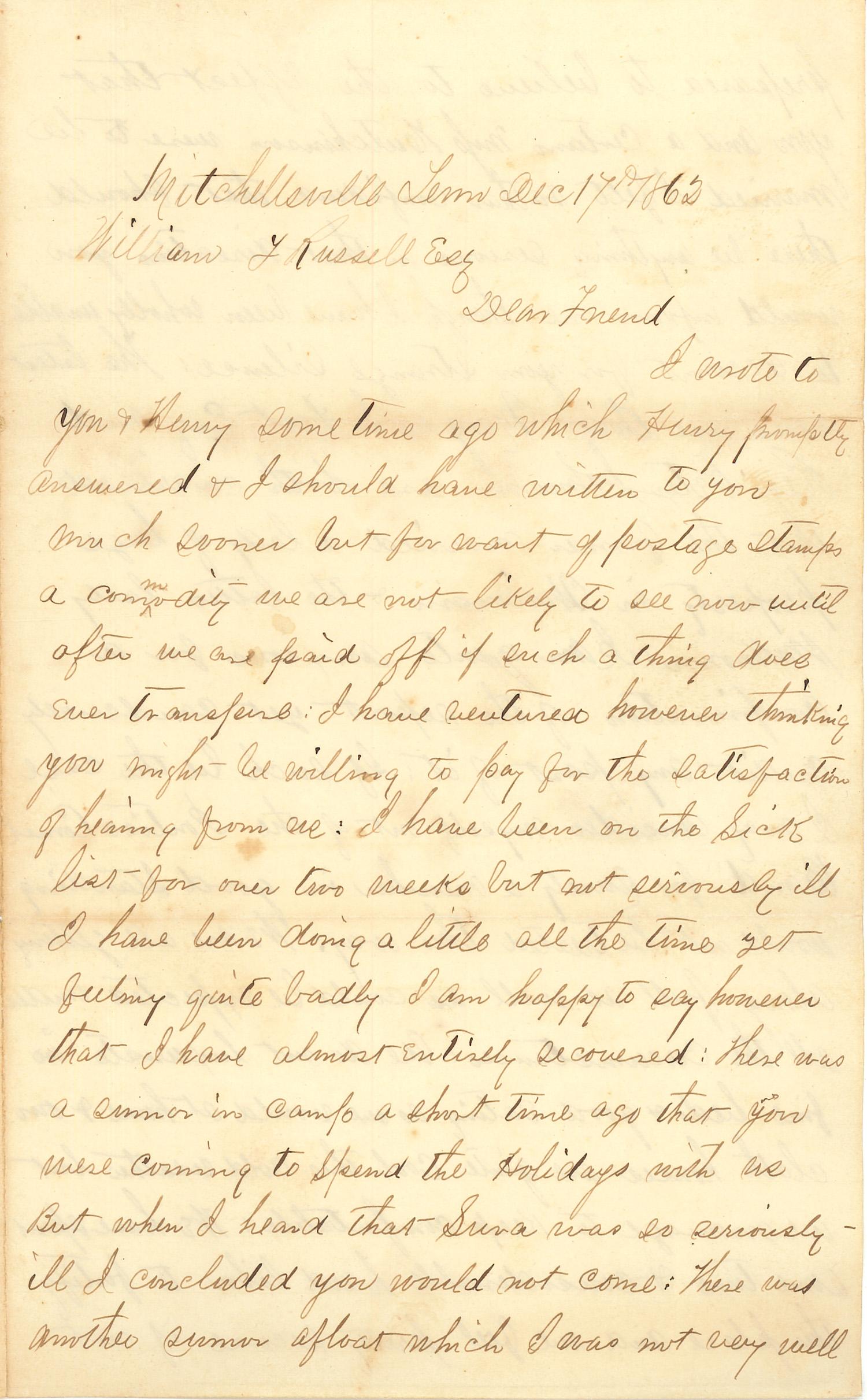 Joseph Culver Letter, December 17, 1862, Page 1