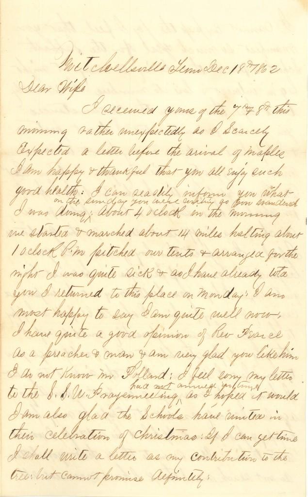 Joseph Culver Letter, December 18, 1862, Page 1