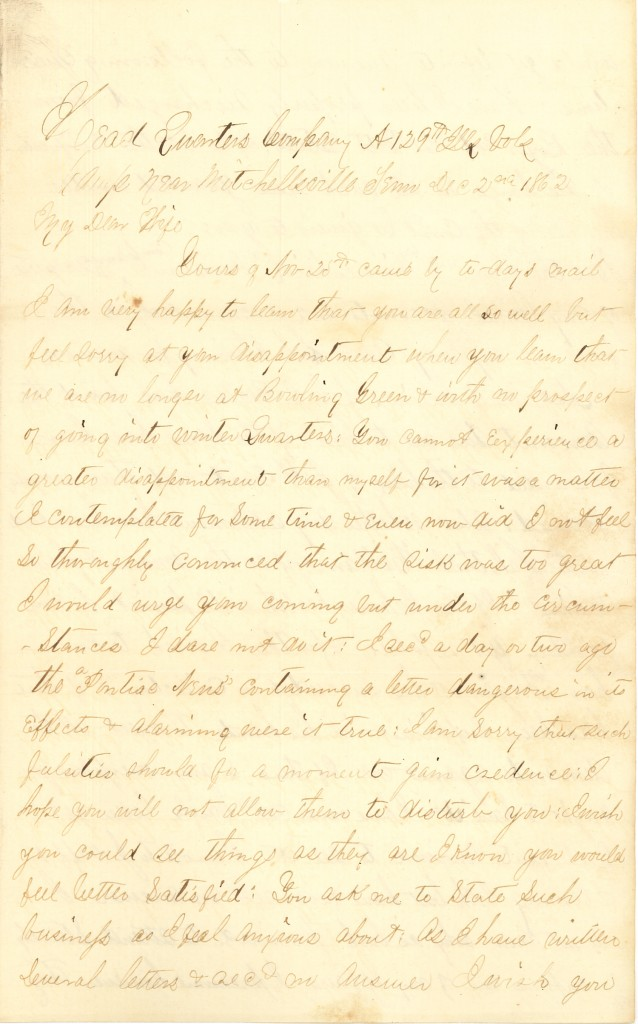 Joseph Culver Letter, December 2, 1862, Letter 2, Page 1