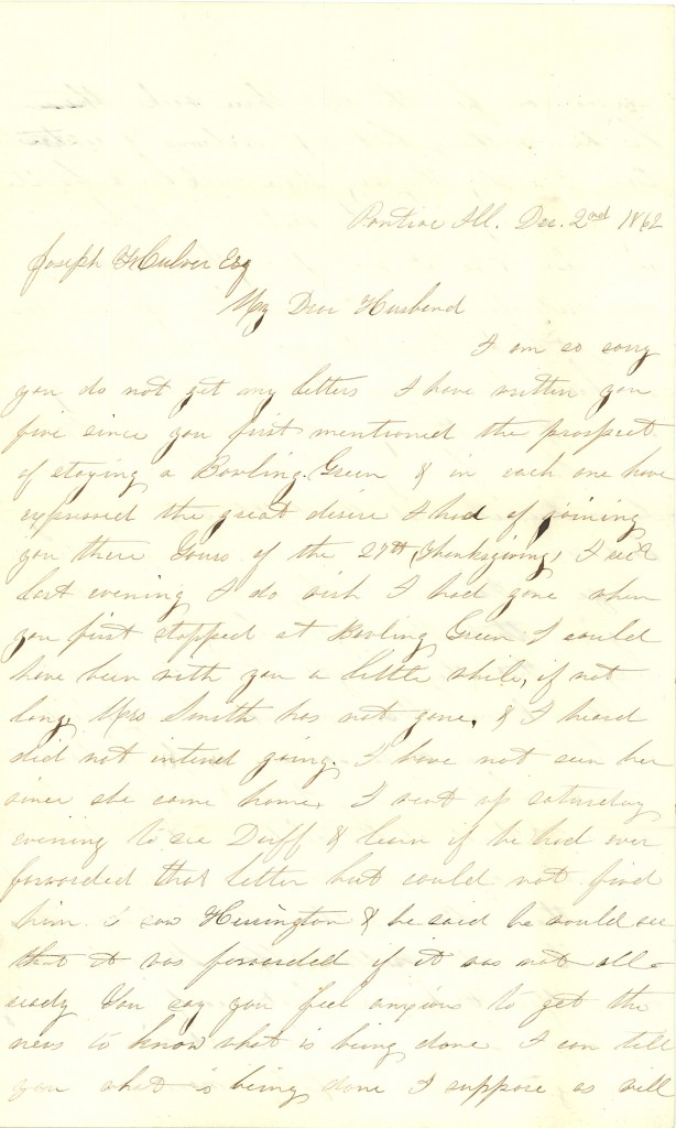 Joseph Culver Letter, December 2, 1862, Page 1