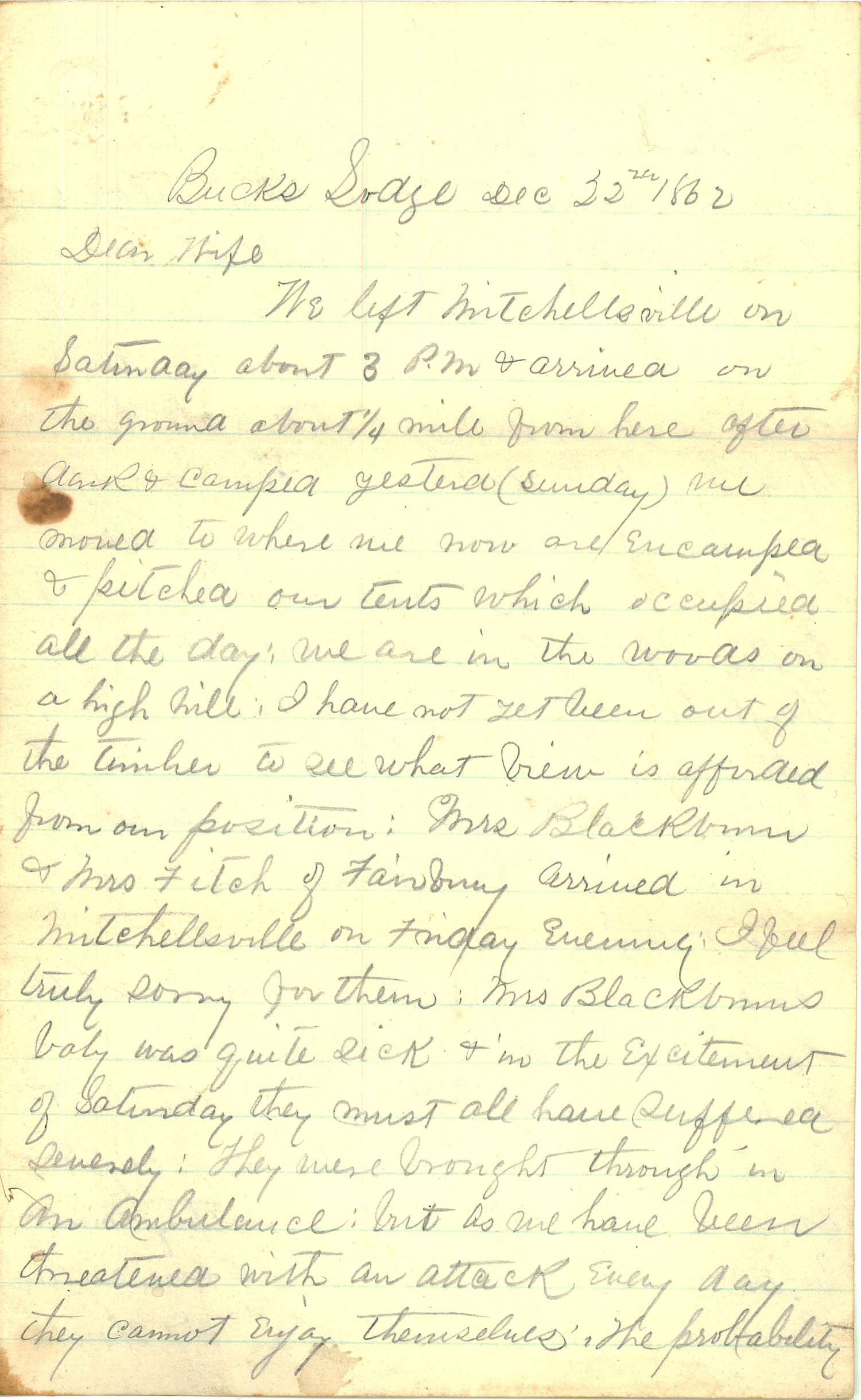 Joseph Culver Letter, December 22, 1862, Page 1