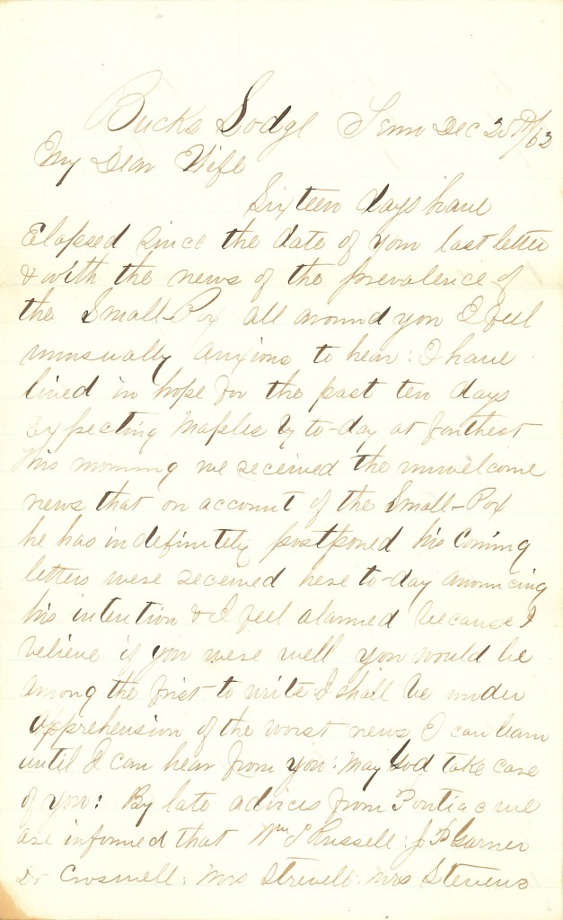 Joseph Culver Letter, December 25, 1862, Page 1