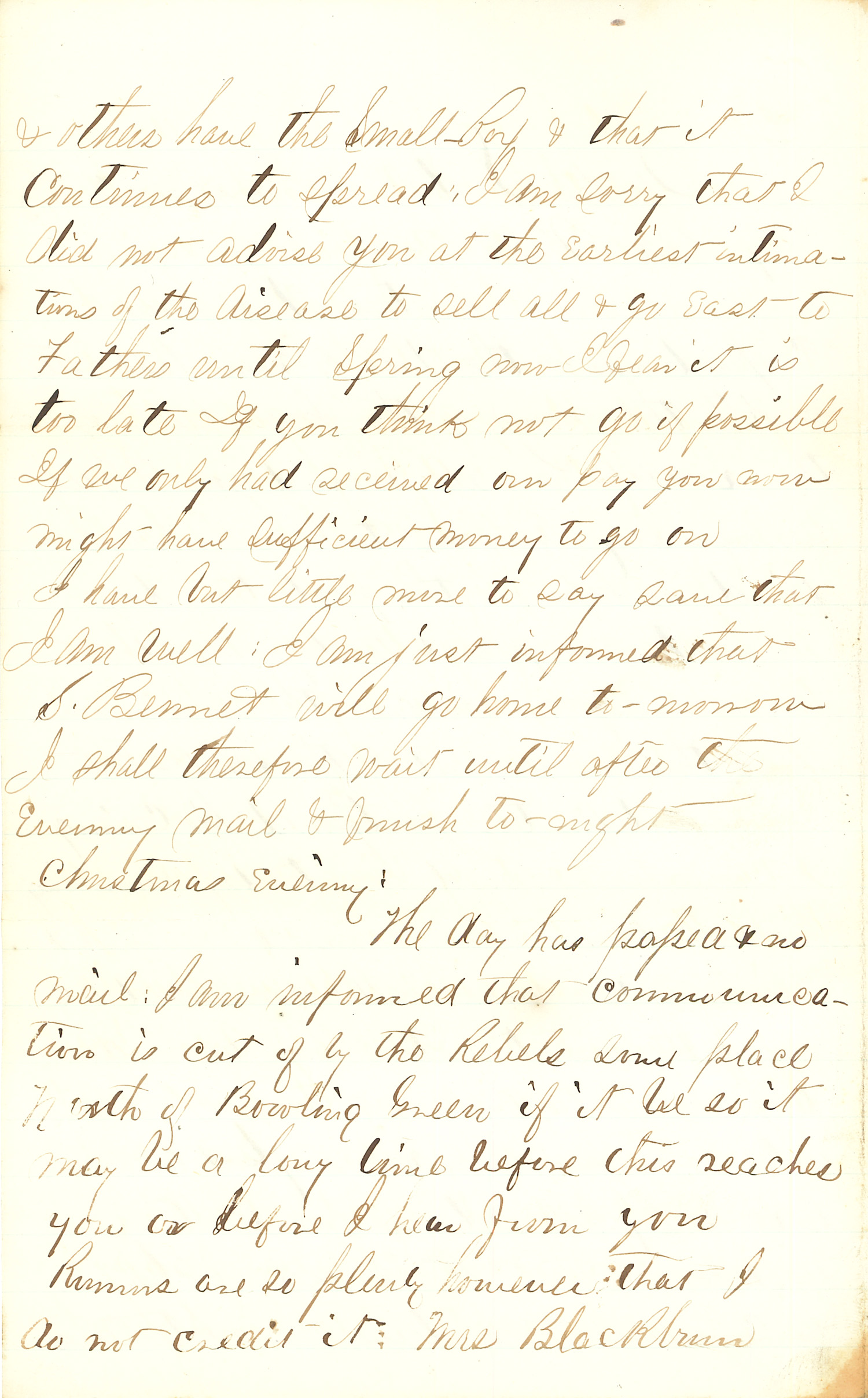 Joseph Culver Letter, December 25, 1862, Page 2