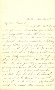 Joseph Culver Letter, December 27, 1862, Page 1