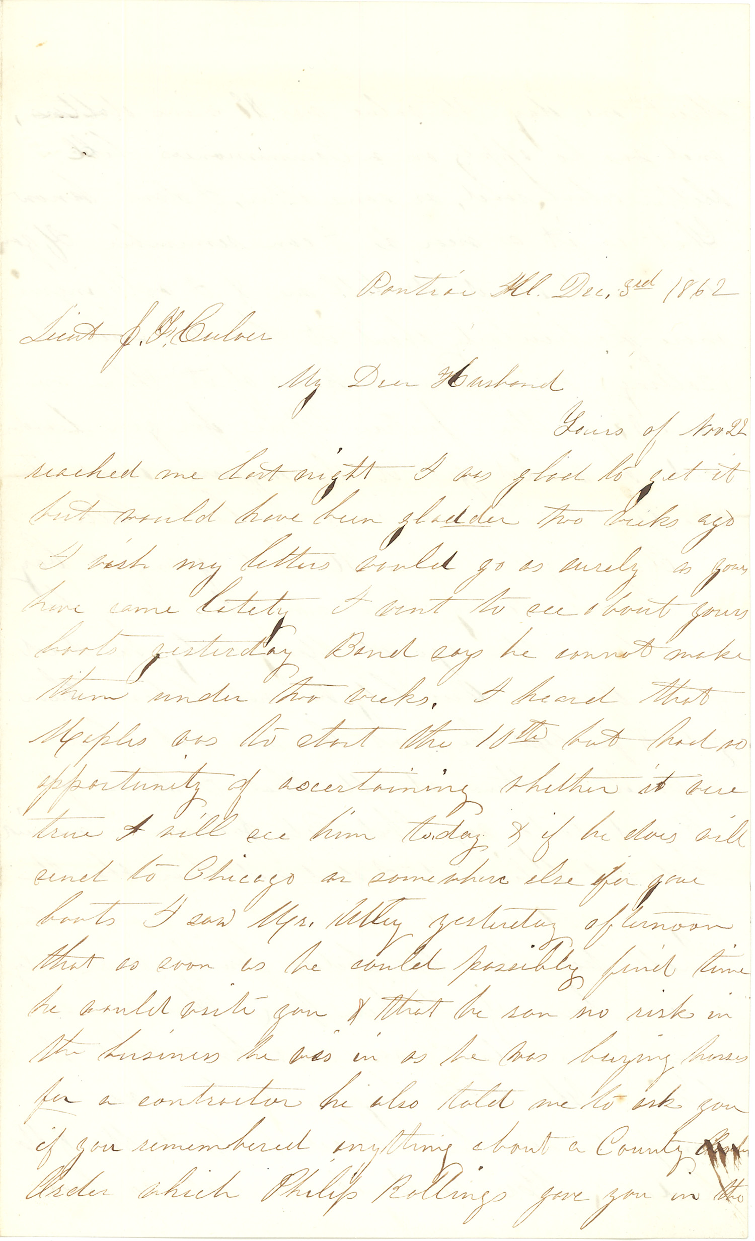 Joseph Culver Letter, December 3, 1862, Page 1