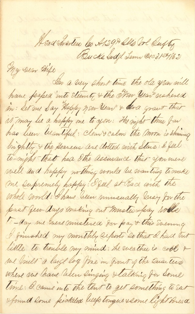 Joseph Culver Letter, December 31, 1862, Page 1