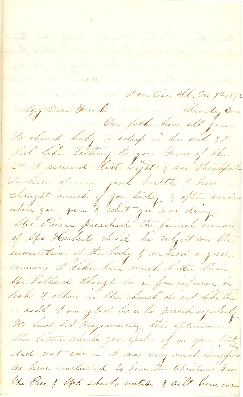 Joseph Culver Letter, December 7, 1862, Page 1