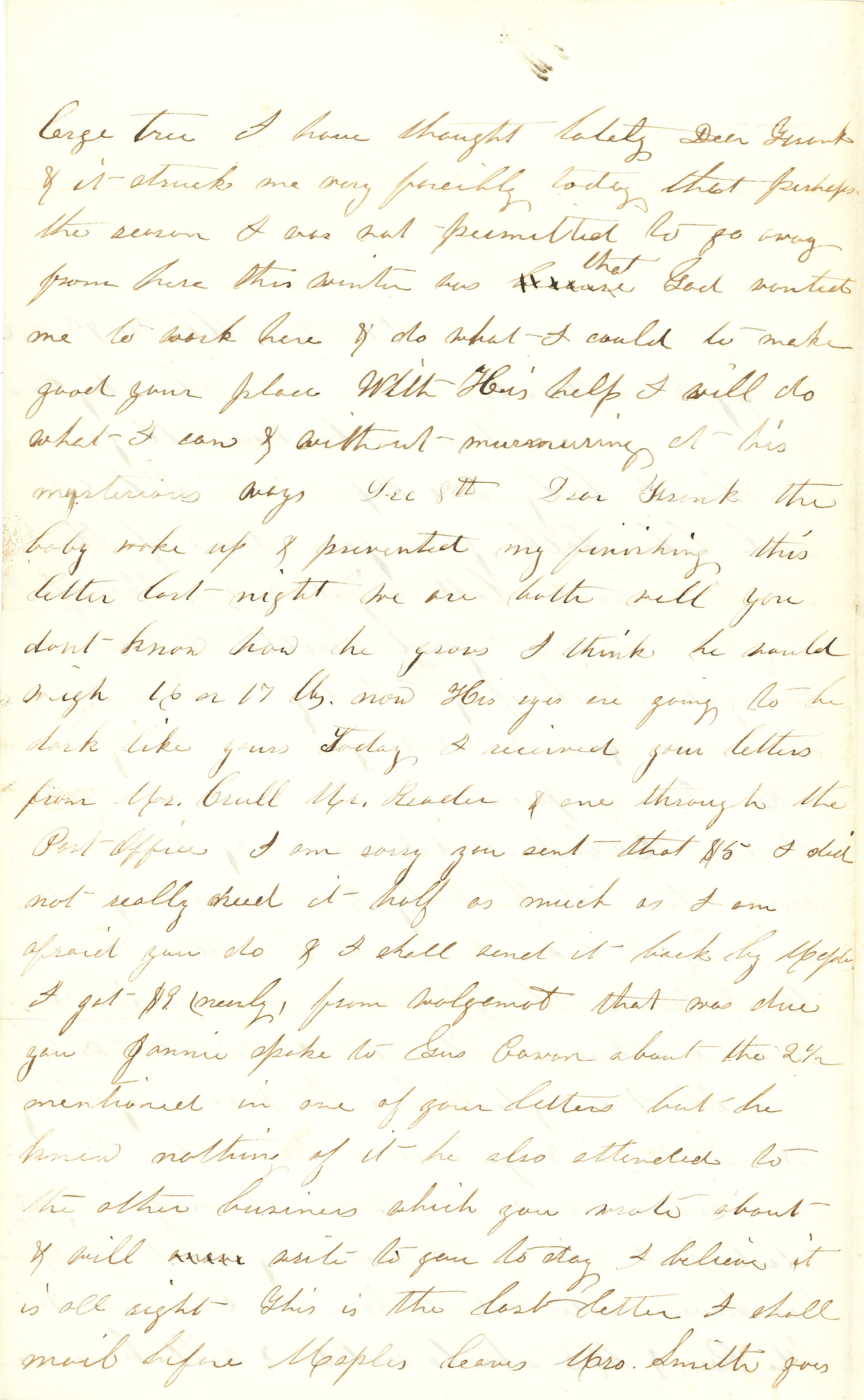 Joseph Culver Letter, December 7, 1862, Page 2