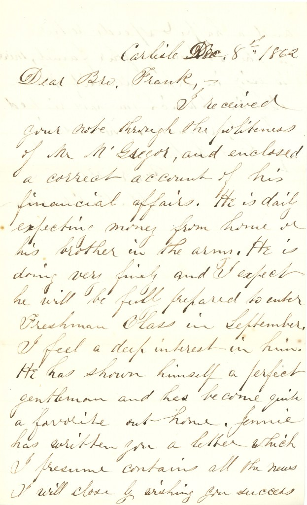 Joseph Culver Letter, December 8, 1862, Page 1