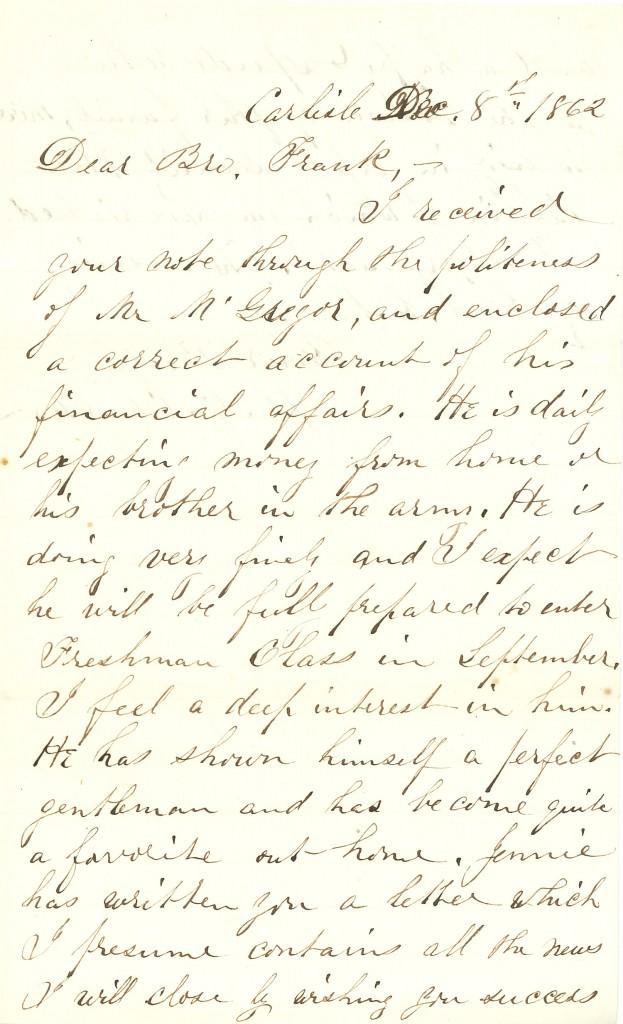 Joseph Culver Letter, December 8, 1862, Page 1