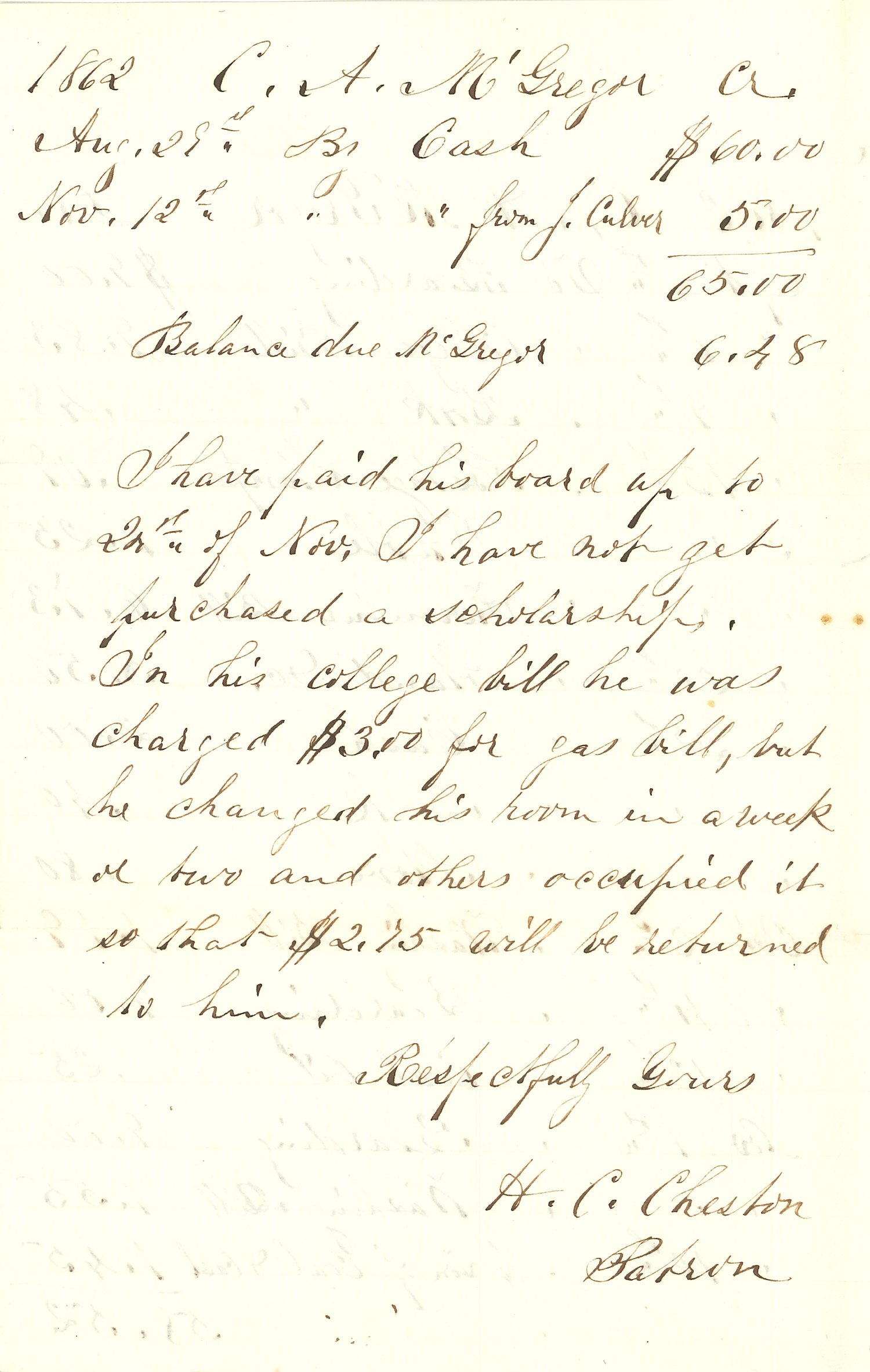 Joseph Culver Letter, December 8, 1862, Page 4