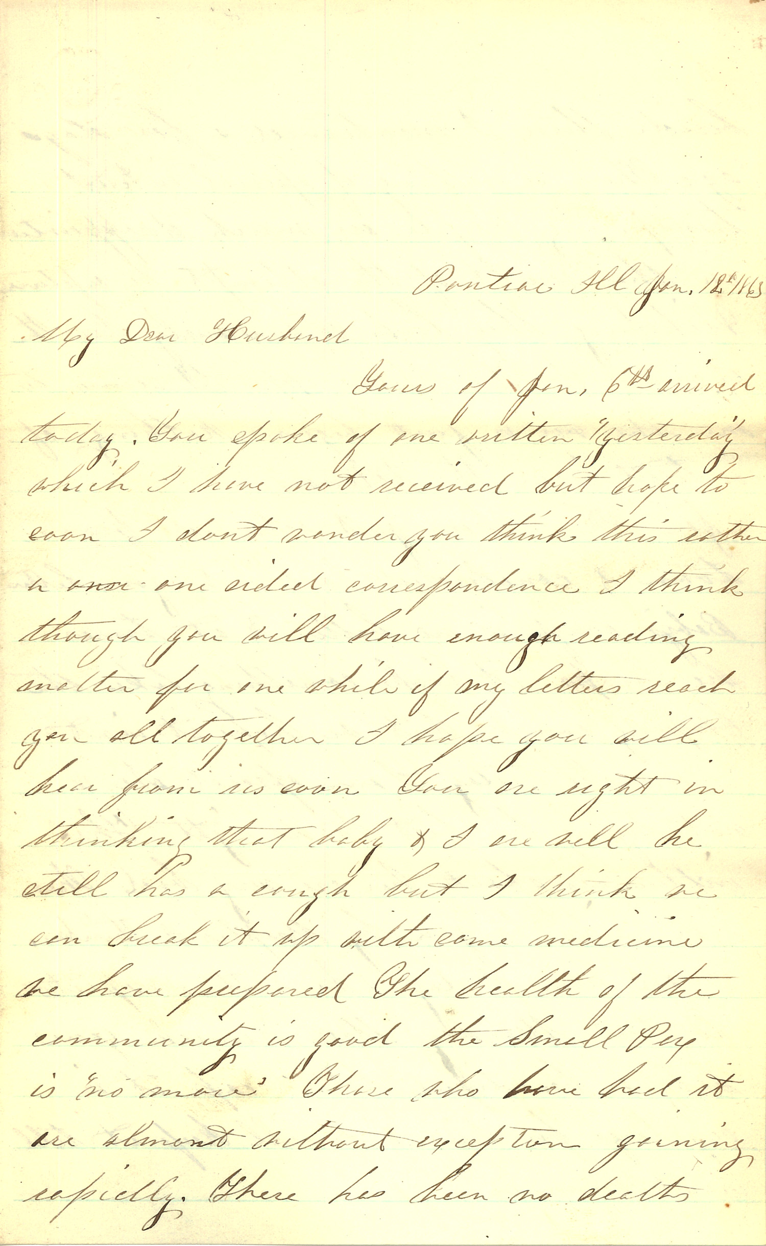 Joseph Culver Letter, January 12, 1863, Letter 2, Page 1