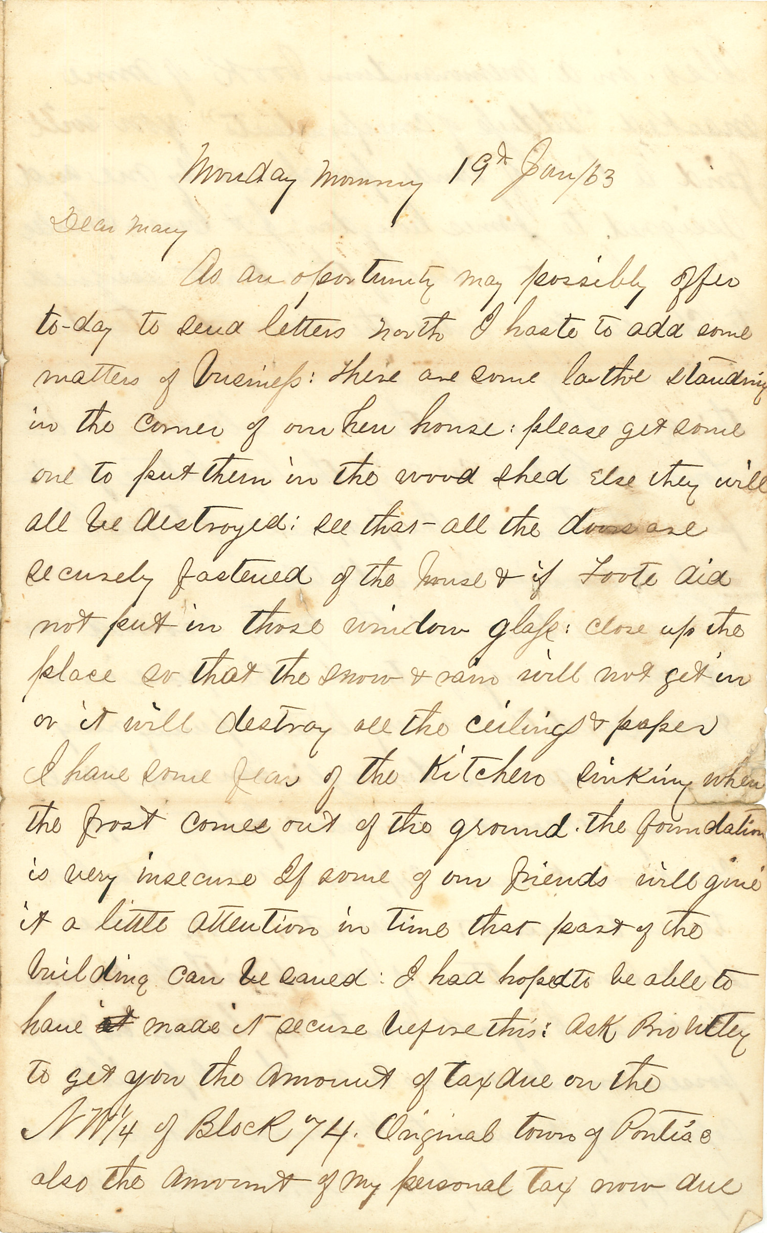 Joseph Culver Letter, January 19, 1863, Letter 2, Page 1