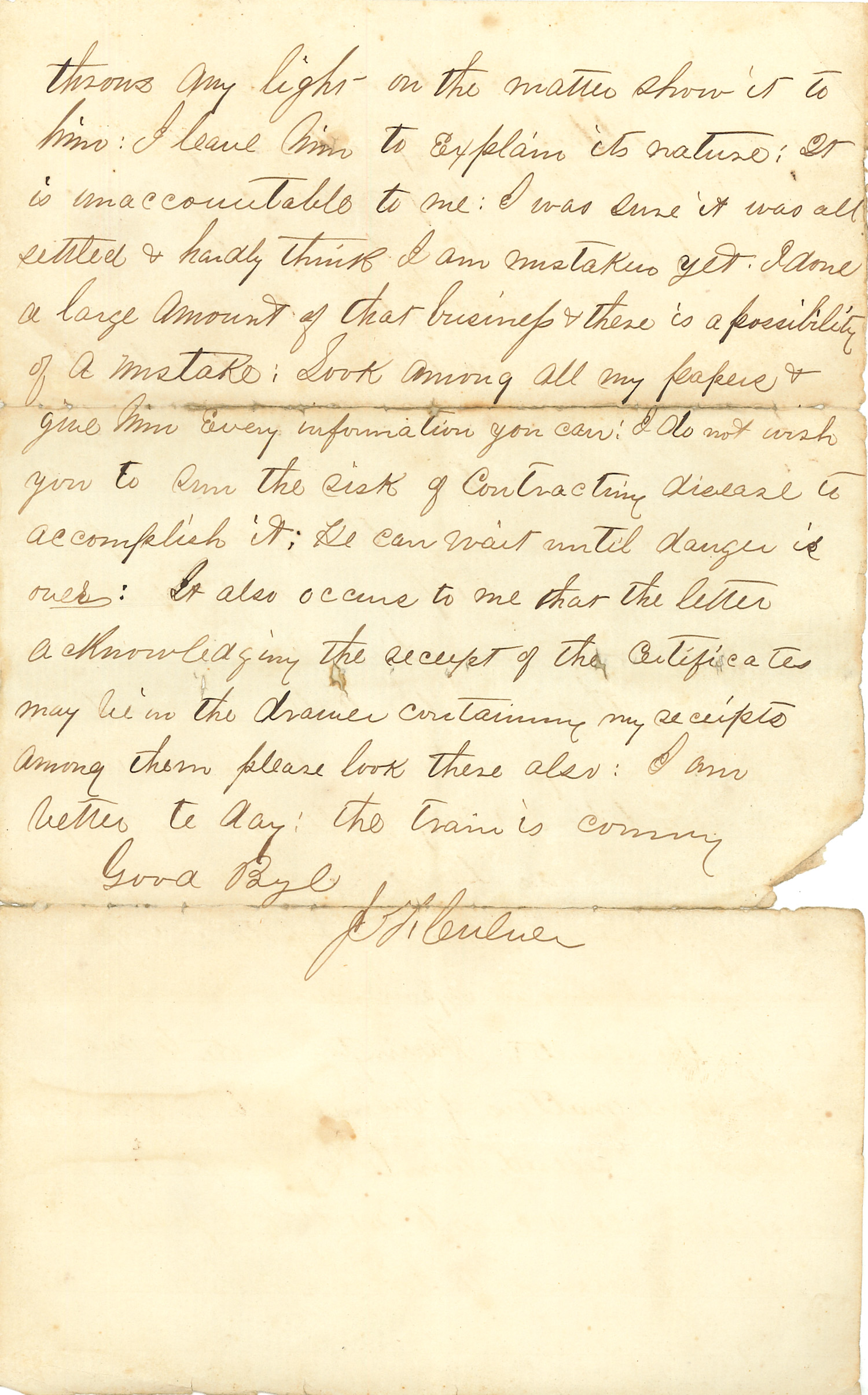 Joseph Culver Letter, January 19, 1863, Letter 2, Page 3