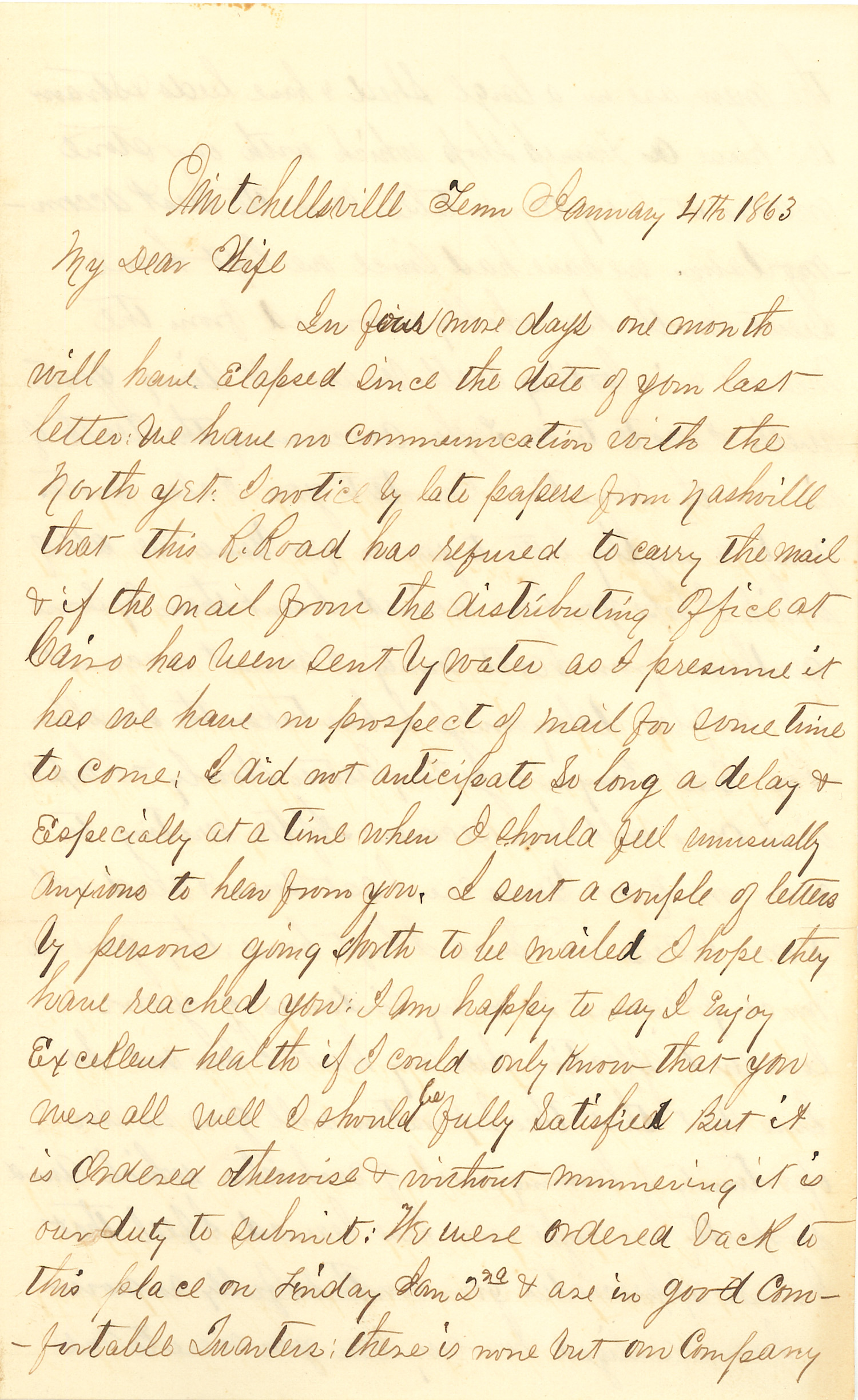 Joseph Culver Letter, January 4, 1863, Page 1