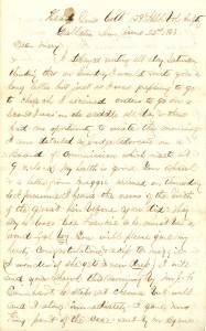 Joseph Culver Letter, June 22, 1863, Page 1