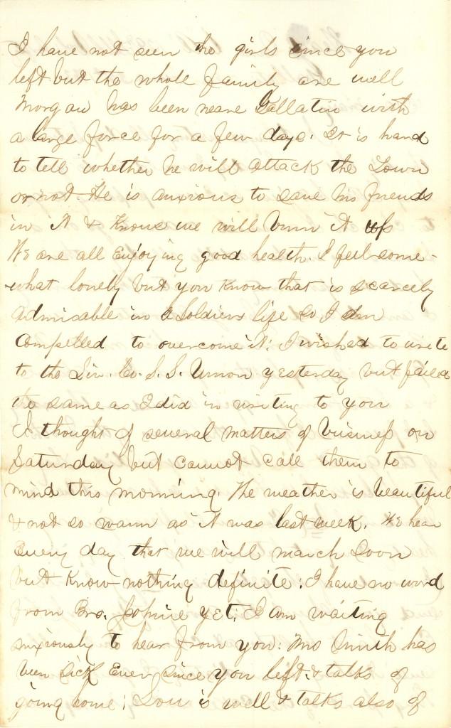 Joseph Culver Letter, June 22, 1863, Page 2