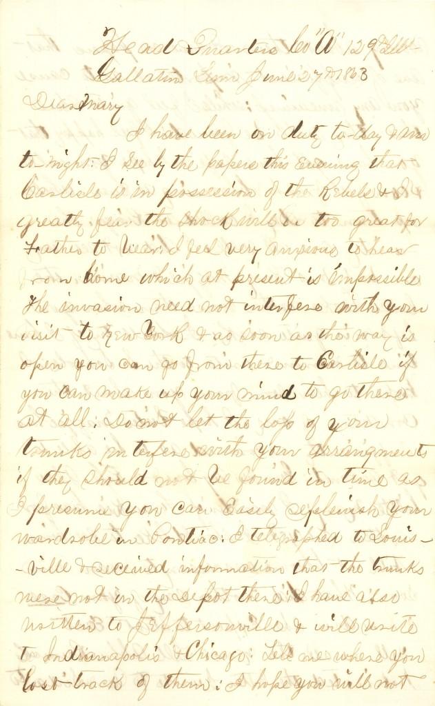 Joseph Culver Letter, June 27, 1863, Letter 2, Page 1