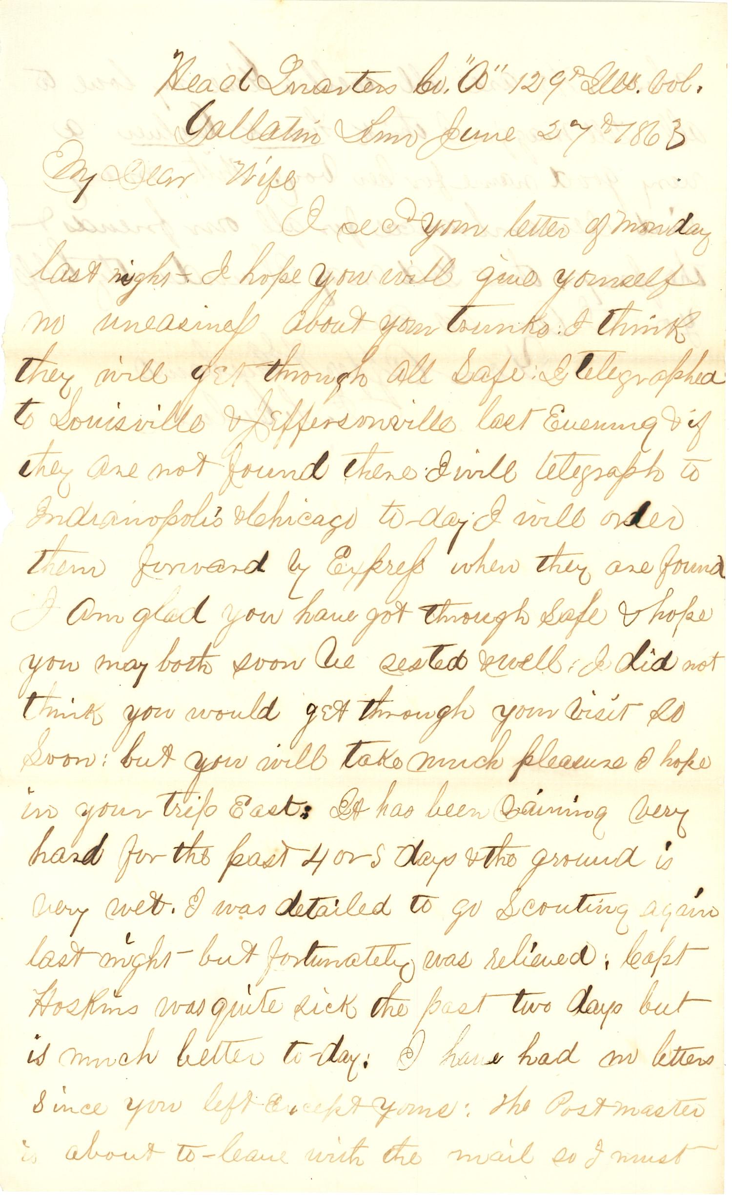 Joseph Culver Letter, June 27, 1863, Page 1