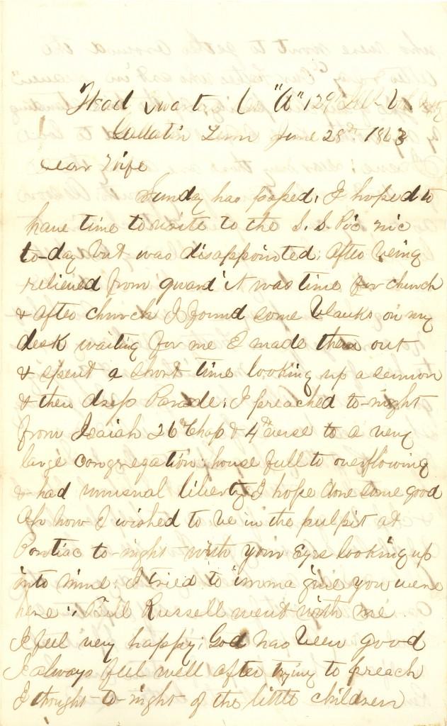 Joseph Culver Letter, June 28, 1863, Page 1