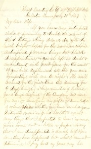 Joseph Culver Letter, July 10, 1863, Page 1