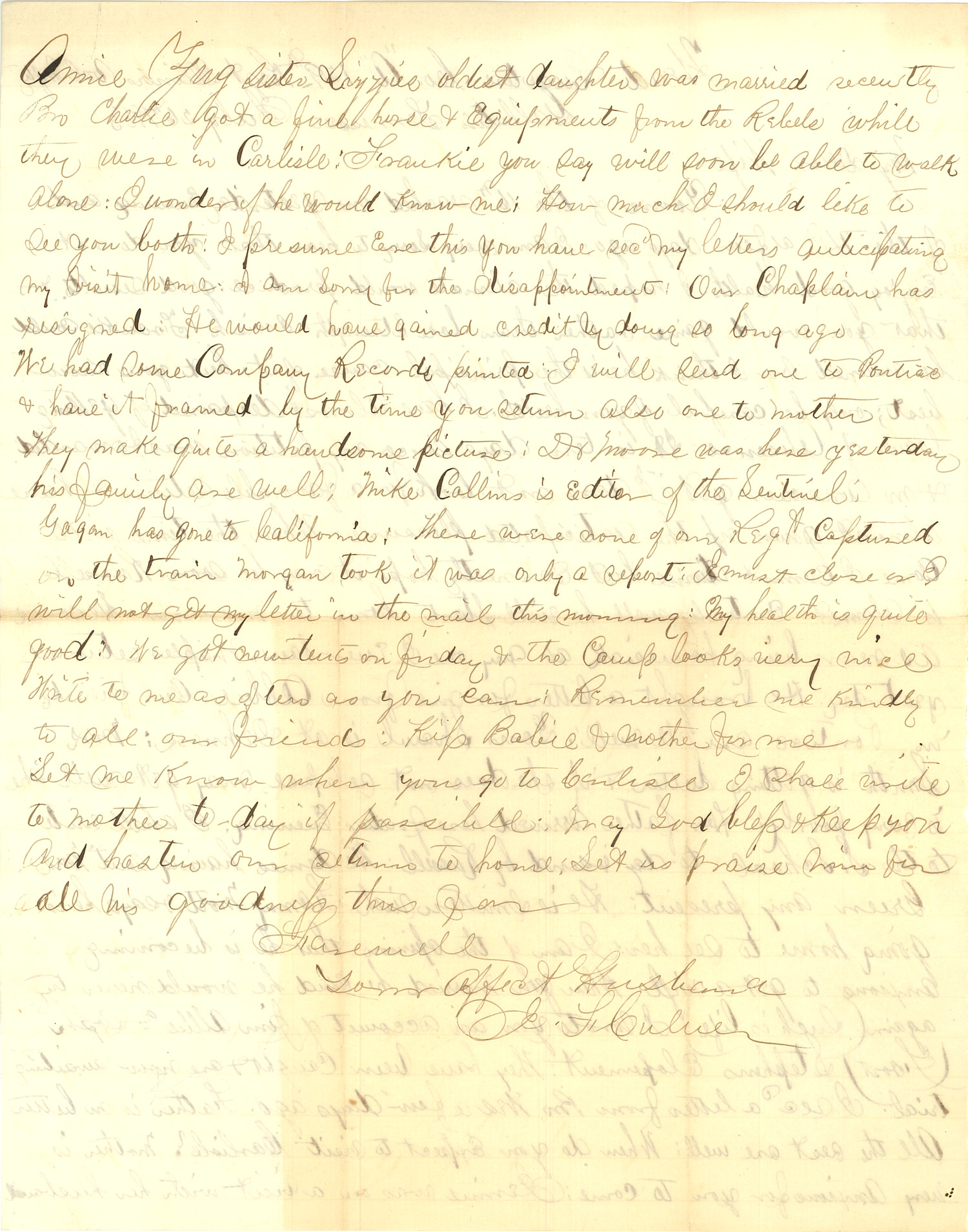 Joseph Culver Letter, July 26, 1863, Page 2