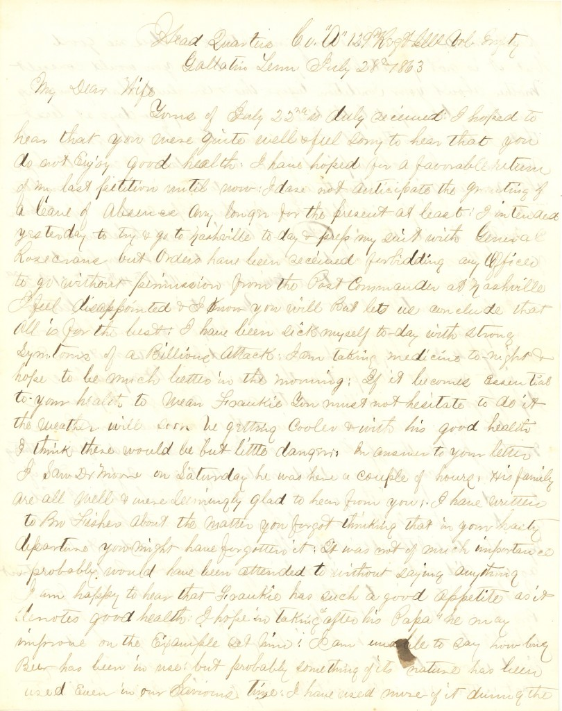 Joseph Culver Letter, July 28, 1863, Page 1