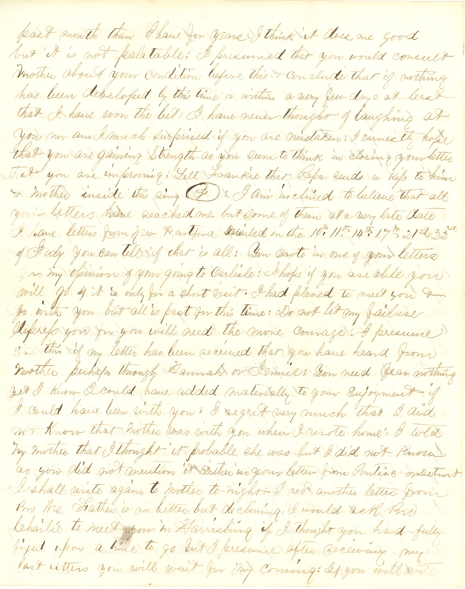 Joseph Culver Letter, July 28, 1863, Page 2