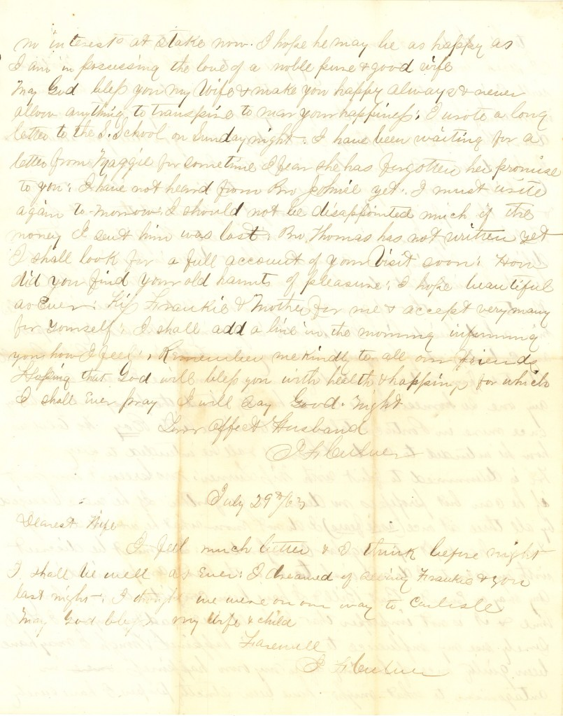Joseph Culver Letter, July 28, 1863, Page 4