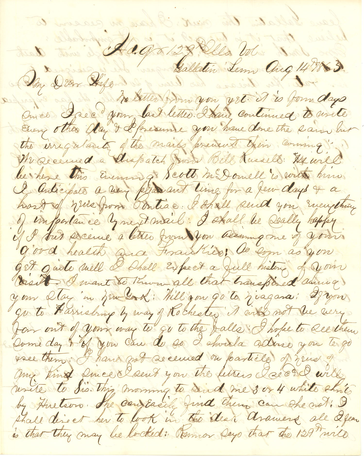 Joseph Culver Letter, August 14, 1863, Page 1