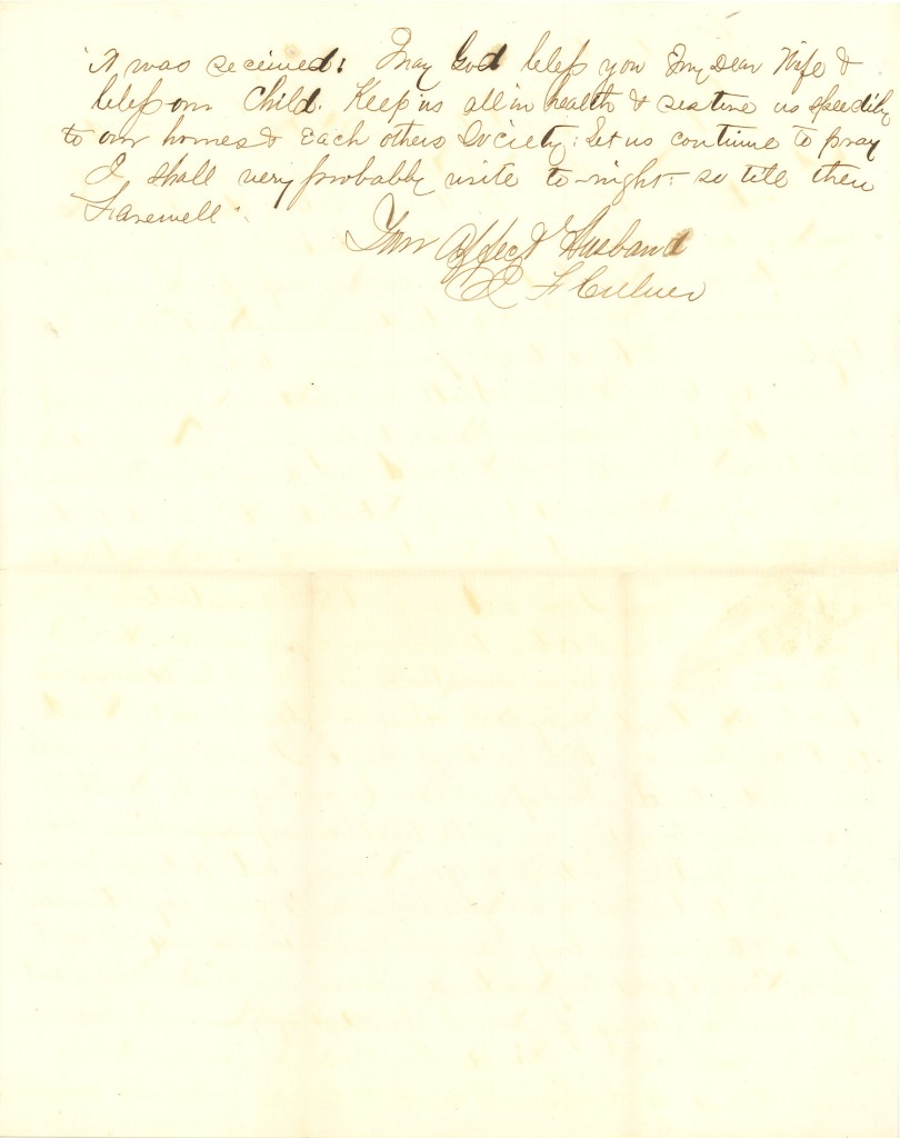 Joseph Culver Letter, August 14, 1863, Page 3