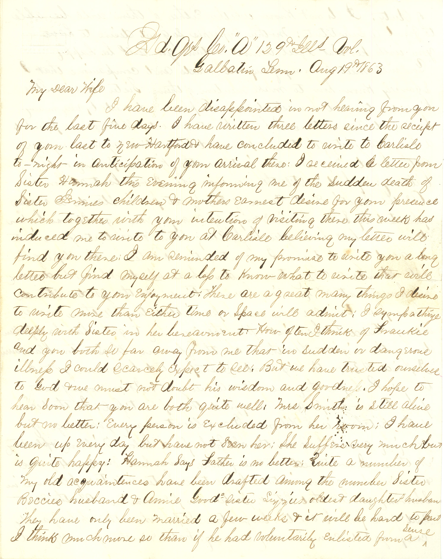 Joseph Culver Letter, August 19, 1863, Page 1