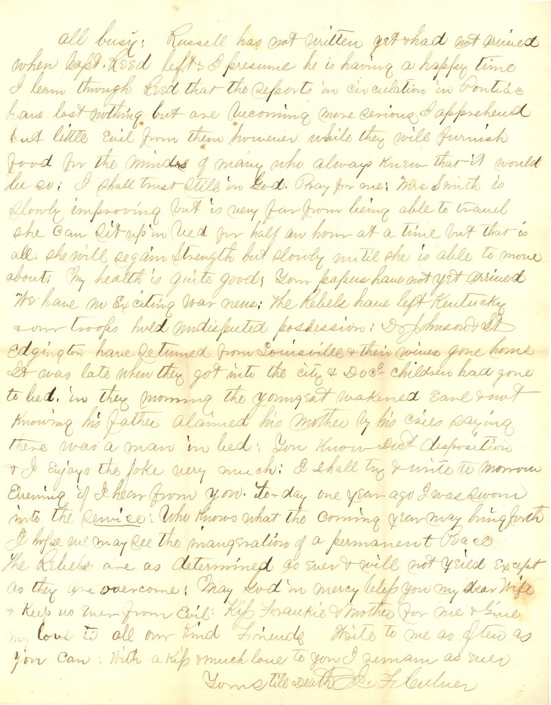 Joseph Culver Letter, August 2, 1863, Page 3