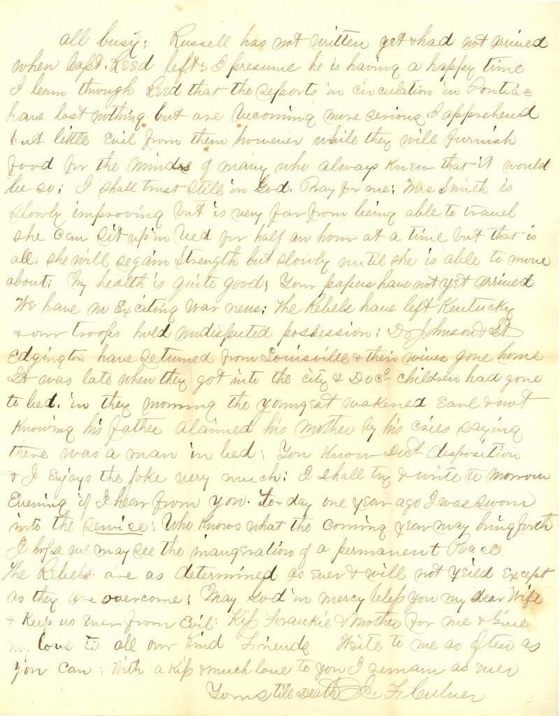 Joseph Culver Letter, August 2, 1863, Page 3