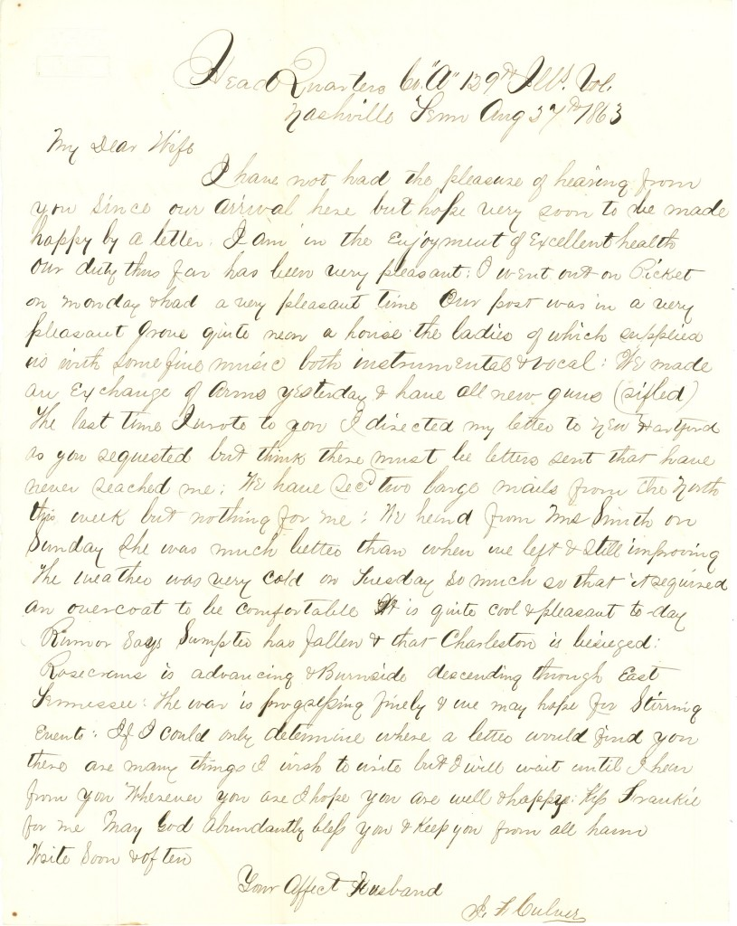 Joseph Culver Letter, August 27, 1863, Page 1