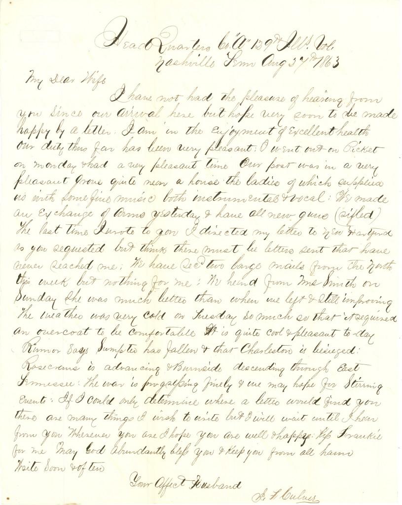 Joseph Culver Letter, August 27, 1863, Page 1