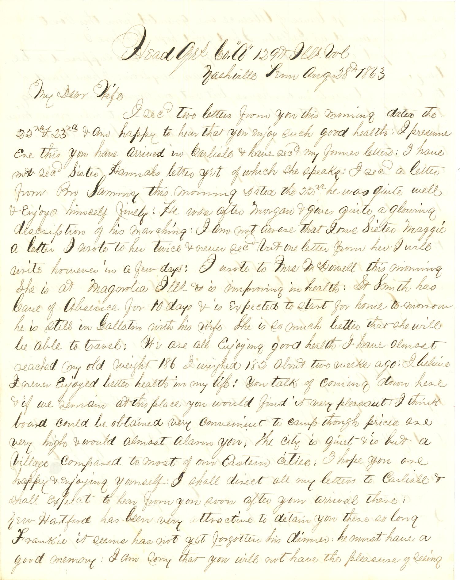 Joseph Culver Letter, August 28, 1863, Letter 2, Page 1