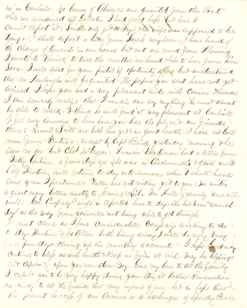 Joseph Culver Letter, August 28, 1863, Letter 2, Page 2