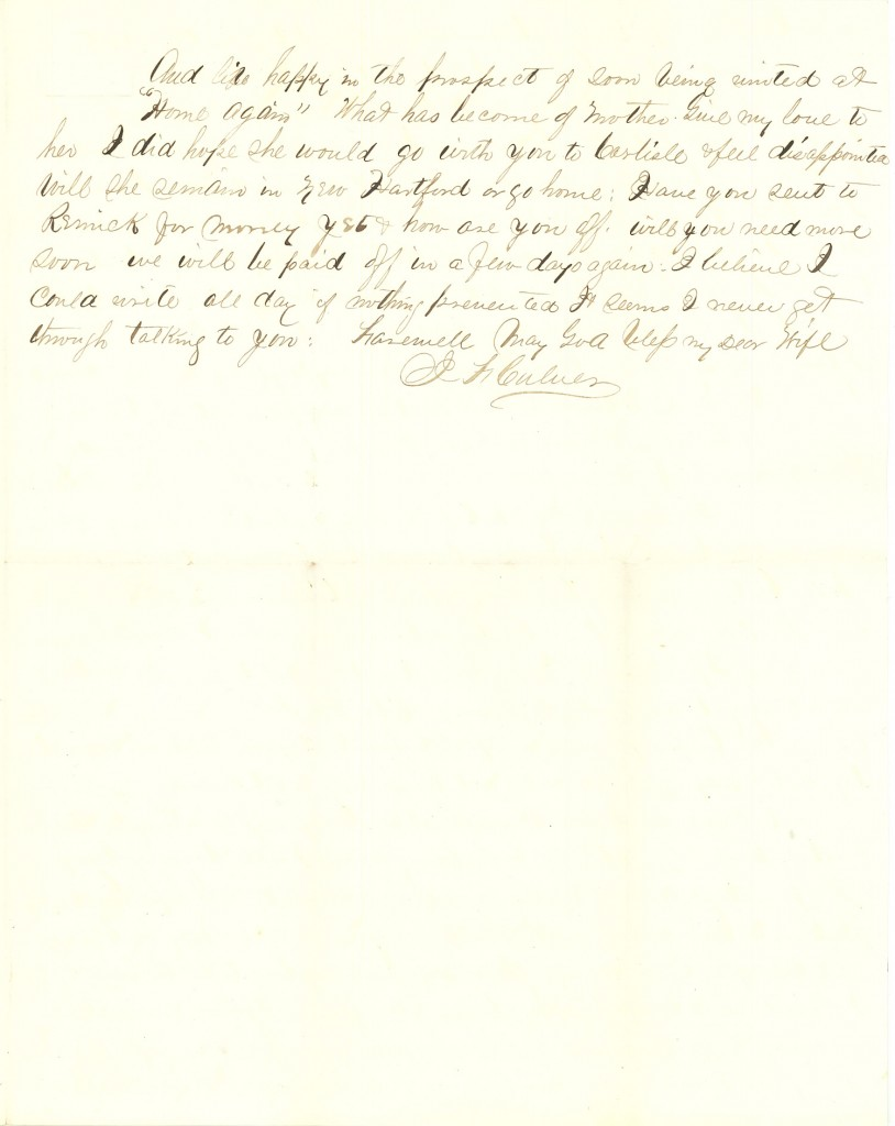 Joseph Culver Letter, August 28, 1863, Letter 2, Page 3