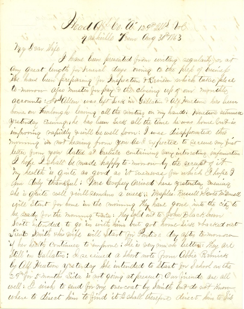 Joseph Culver Letter, August 30, 1863, Page 1