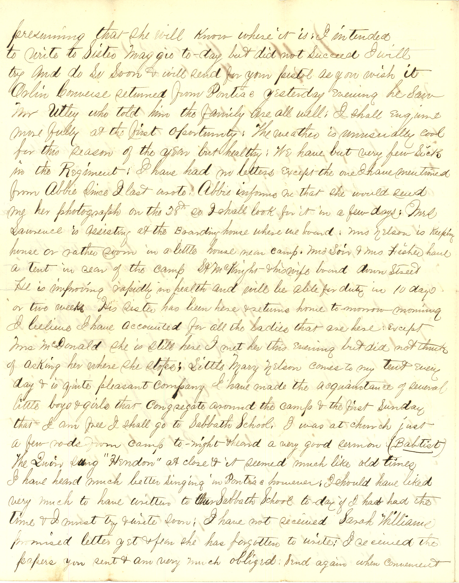 Joseph Culver Letter, August 30, 1863, Page 2